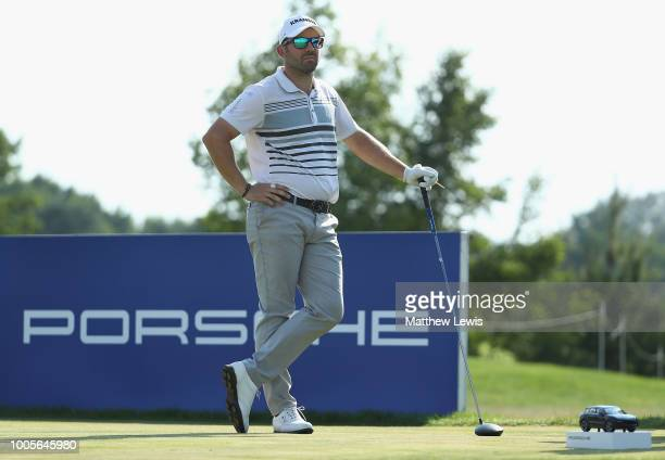 Allen John of Germany looks on on the 4th tee during day one of the Porsche European Open at Green Eagle Golf Course on July 26, 2018 in Hamburg,...