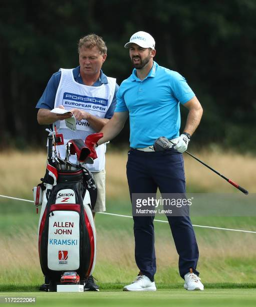 Allen John of Germany looks on with his caddie during a preview day of the Porsche European Open at Green Eagle Golf Course on September 04, 2019 in...