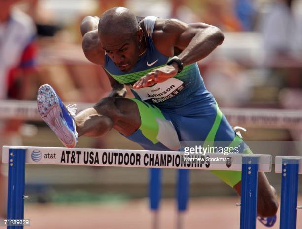 Allen Johnson competes in the men's 110 meter hurdles on the third day of the AT&T USA Outdoor Track and Field Championships at Indiana University...