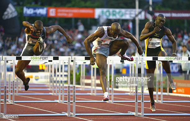 Allen Johnson of the United States on his way to victory during the men's 110m hurdles race at the IAAF Golden Spike meet in Ostrava Czech Republic