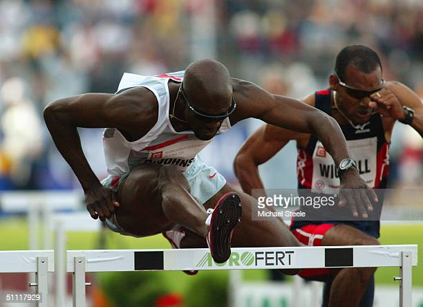 Allen Johnson of the USA in action during the Men's 100 metres race at the IAAF Golden Spike meet in Ostrava Czech Republic