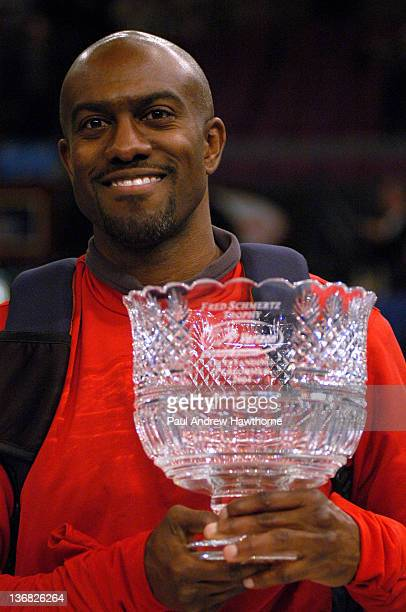 Allen Johnson winner of the Fred Schmertz Outstanding Performer of the 2004 Verizon Millrose Games at Madison Square Garden New York City February 6...