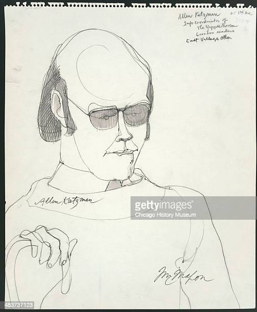 Allen Katzman testifying in a courtroom illustration during the trial of the Chicago Eight Chicago Illinois late 1969 or early 1970 The Eight or...