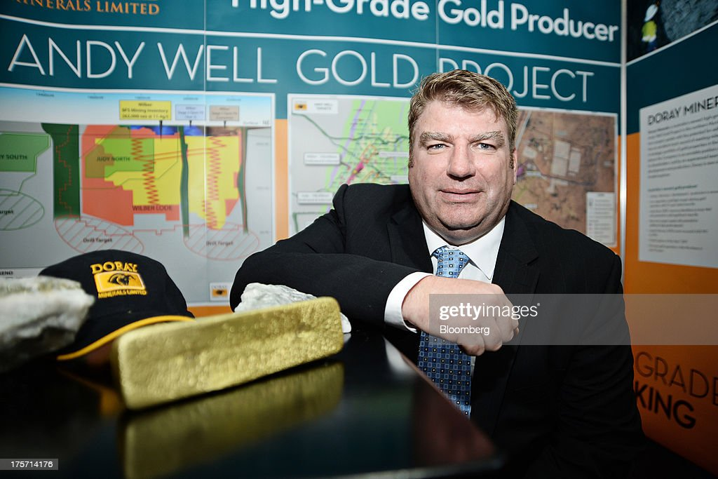 Allen Kelly, managing director of Doray Minerals Ltd., poses for a photograph at the company's booth during the Diggers and Dealers mining forum in Kalgoorlie, Australia, on Tuesday, Aug. 6, 2013. The Diggers and Dealers mining forum runs from Aug. 5-7. Photographer: Carla Gottgens/Bloomberg via Getty Images