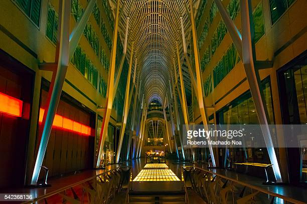 """Allen Lambert Galleria at night. The sometimes described as the """"crystal cathedral of commerce"""" is an atrium designed by Spanish architect Santiago..."""