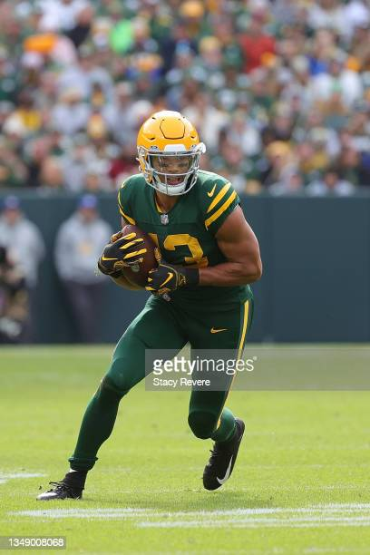 Allen Lazard of the Green Bay Packers runs for yards during a game against the Washington Football Team at Lambeau Field on October 24, 2021 in Green...