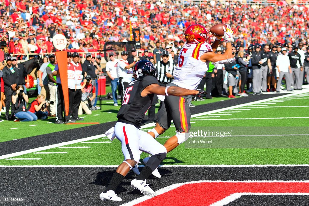 Allen Lazard #5 of the Iowa State Cyclones makes the catch for a touchdown against the defense of Vaughnte Dorsey #15 of the Texas Tech Red Raiders during the game on October 21, 2017 at Jones AT&T Stadium in Lubbock, Texas.