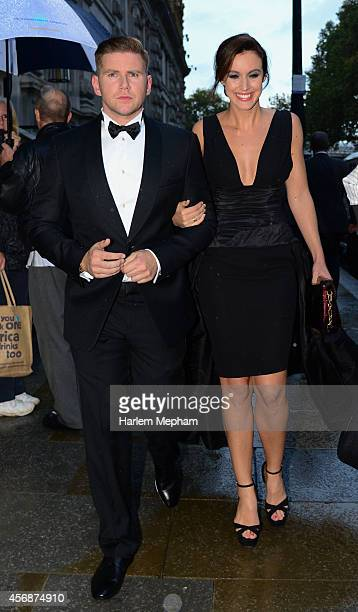 Allen Leech and Charlie Webster sighted leaving the Corinthia on October 8 2014 in London England