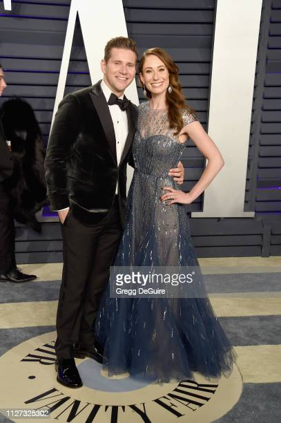 Allen Leech and Jessica Blair Herman attend the 2019 Vanity Fair Oscar Party hosted by Radhika Jones at Wallis Annenberg Center for the Performing...