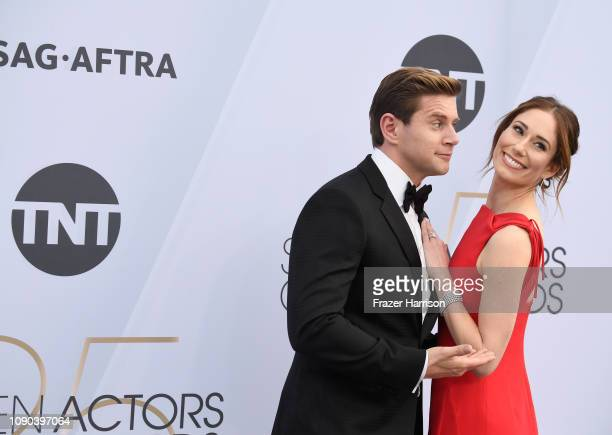 Allen Leech and Jessica Blair Herman attend the 25th Annual Screen ActorsGuild Awards at The Shrine Auditorium on January 27 2019 in Los Angeles...
