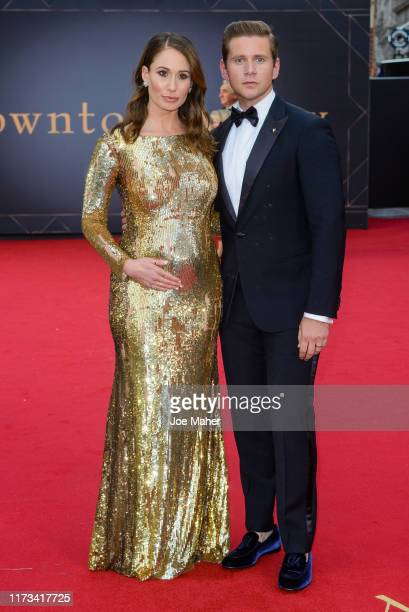 "Allen Leech and Jessica Blair Herman attend the ""Downton Abbey"" World Premiere at Cineworld Leicester Square on September 09, 2019 in London, England."