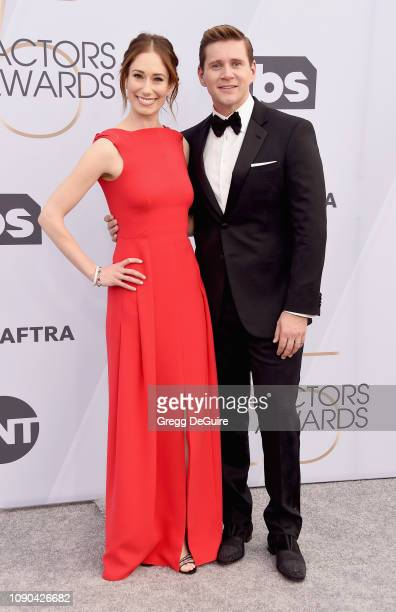 Allen Leech and Jessica Herman attend the 25th Annual Screen ActorsGuild Awards at The Shrine Auditorium on January 27 2019 in Los Angeles...