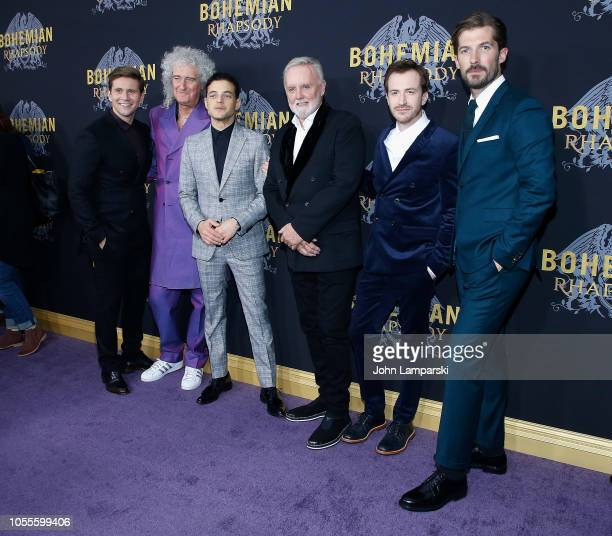 Allen Leech Brian May Rami Malek Roger Taylor Joe Mazzello and Gwilym Lee attend Bohemian Rhapsody New York premiere at The Paris Theatre on October...