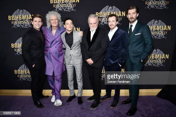 Allen Leech Brian May Rami Malek Roger Taylor Joseph Mazzello and Gwilym Lee attend 'Bohemian Rhapsody' New York Premiere at The Paris Theatre on...