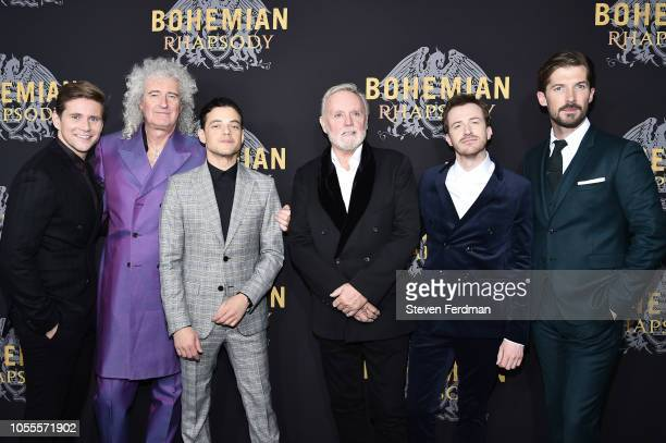 Allen Leech Brian May Rami Malek Roger Taylor Joseph Mazzello and Gwilym Lee attend Bohemian Rhapsody New York Premiere at The Paris Theatre on...