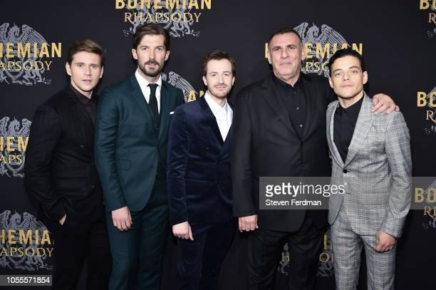 Allen Leech Gwilym Lee Joe Mazzello Graham King and Rami Malek attend 'Bohemian Rhapsody' New York Premiere at The Paris Theatre on October 30 2018...