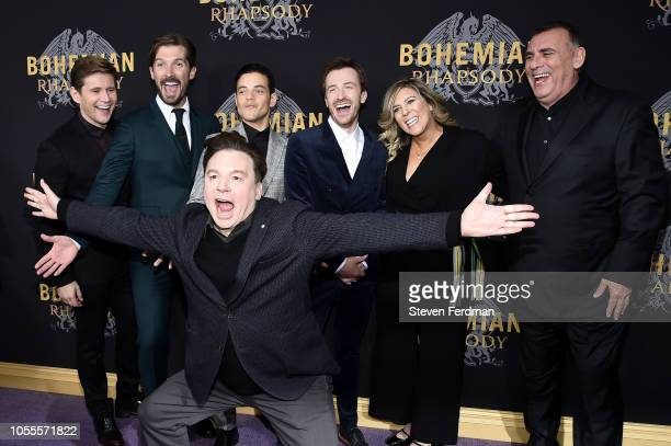 Allen Leech Gwilym Lee Rami Malek Mike Myers Joe Mazzello and Graham King attend 'Bohemian Rhapsody' New York Premiere at The Paris Theatre on...