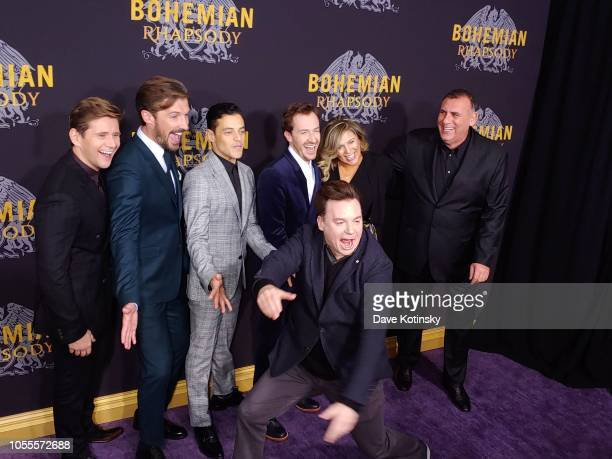 Allen Leech Gwilym Lee Rami Malek Mike Myers Joe Mazzello and Graham King arrive at the red carpet at the premiere for Bohemian Rhapsody on October...