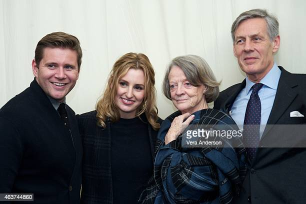 """Allen Leech, Laura Carmichael, Maggie Smith and Douglas Reith on the """"Downton Abbey"""" set at Highclere Castle on February 16, 2015 in Newbury, England."""