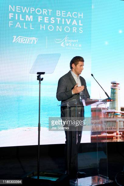 Allen Leech speaks onstage during the Newport Beach Film Festival Fall Honors And Variety's 10 Actors To Watch presented by Visit Newport Beach and...