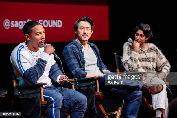 Allen Maldonado James Chen and Sunita Mani attend the SAG AFTRA Business panel discussion 'New Voices New Stories Creating Opportunities' at The...