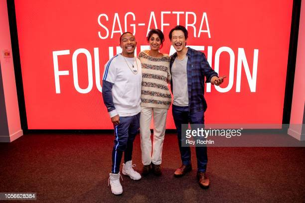 Allen Maldonado Sunita Mani and James Chen attend the SAG AFTRA Business panel discussion 'New Voices New Stories Creating Opportunities' at The...