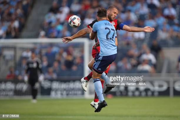 Allen of New York City and Benoit Cheyrou of Toronto FC during MLS fixture between Toronto FC and New York City FC at Yankee Stadium on July 19 2017...