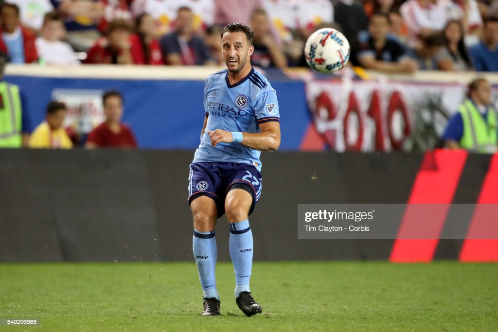 RJ Allen #27 of New York City FC in action during the New York Red Bulls Vs New York City FC MLS regular season match at Red Bull Arena, Harrison, New Jersey on August 25, 2017 in Harrison, New Jersey.