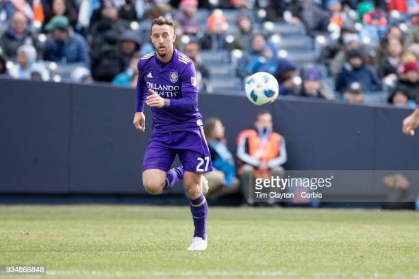 RJ Allen of Orlando City in action during the New York City FC Vs Orlando City SC regular season MLS game at Yankee Stadium on March 17 2018 in New...