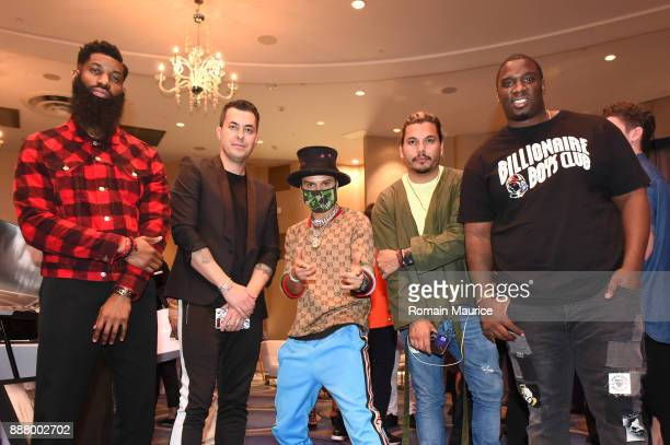 Allen Onyia Jason Arasheben Alec Monopoly Crime by Design and Donavan Carter attend Haute Living's VIP PopUp Opening Of Alec Monopoly From Art Life...