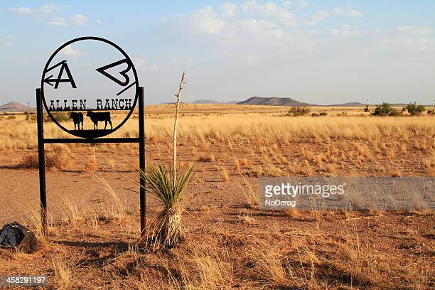 allen ranch sign in texas - allen west stock pictures, royalty-free photos & images