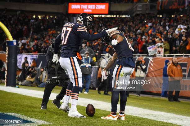 Allen Robinson celebrates his touchdown with Adam Shaheen of the Chicago Bears against the Philadelphia Eagles in the fourth quarter of the NFC Wild...