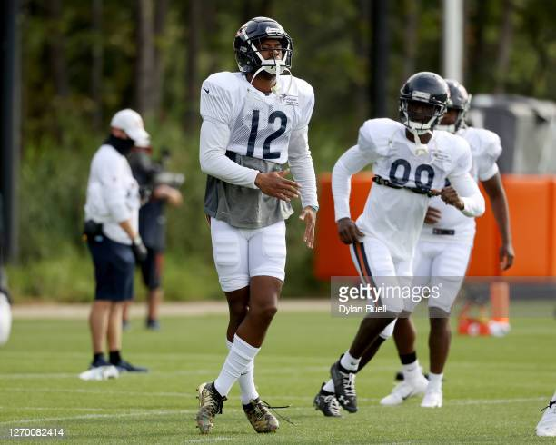 Allen Robinson II of the Chicago Bears participates in a drill during training camp at Halas Hall on September 01, 2020 in Lake Forest, Illinois.
