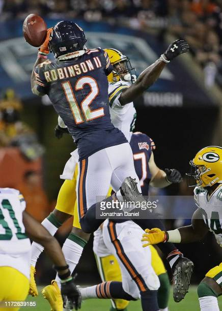 Allen Robinson of the Chicago Bears can't make a catch under pressure from Darnell Savage of the Green Bay Packers at Soldier Field on September 05...