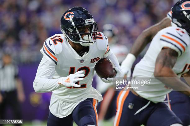 Allen Robinson of the Chicago Bears carries the ball in the first quarter against the Minnesota Vikings at U.S. Bank Stadium on December 29, 2019 in...