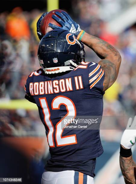 Allen Robinson of the Chicago Bears catches a pass against the Green Bay Packers at Soldier Field on December 16 2018 in Chicago Illinois