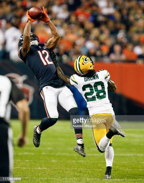 Allen Robinson of the Chicago Bears catches a pass in front of Tony Brown of the Green Bay Packers during the first half at Soldier Field on...