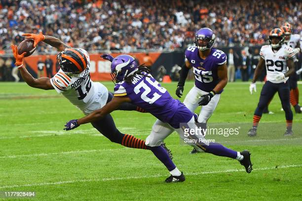 Allen Robinson of the Chicago Bears catches a pass in front of Trae Waynes of the Minnesota Vikings during the first half at Soldier Field on...