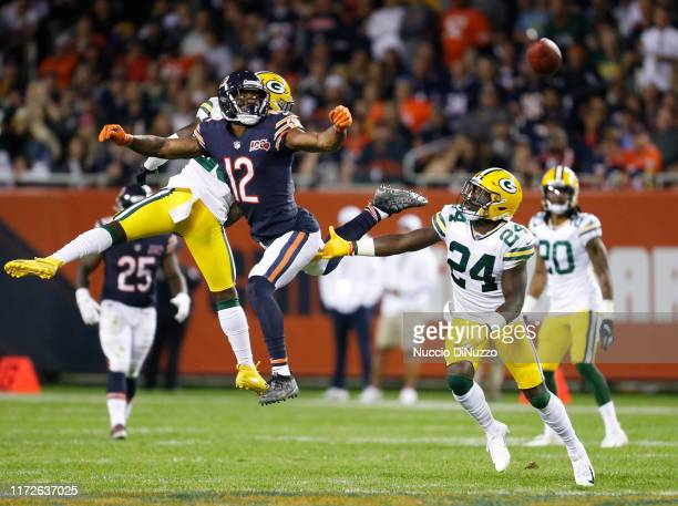Allen Robinson of the Chicago Bears is unable to make a catch in front of Darnell Savage of the Green Bay Packers during the second half at Soldier...