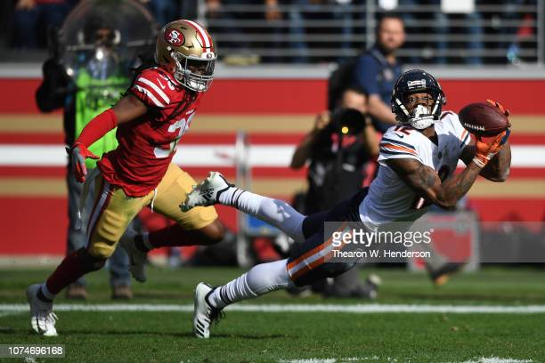 Allen Robinson of the Chicago Bears makes a catch against the San Francisco 49ers during their NFL game at Levi's Stadium on December 23, 2018 in...