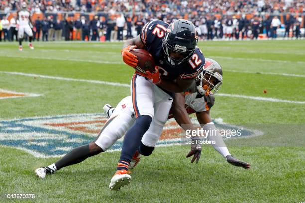 Allen Robinson of the Chicago Bears makes the touchdown against M.J. Stewart of the Tampa Bay Buccaneers in the first quarter at Soldier Field on...