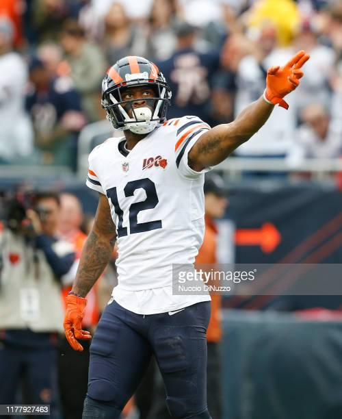 Allen Robinson of the Chicago Bears reacts after a play during the first half against the Minnesota Vikings at Soldier Field on September 29, 2019 in...