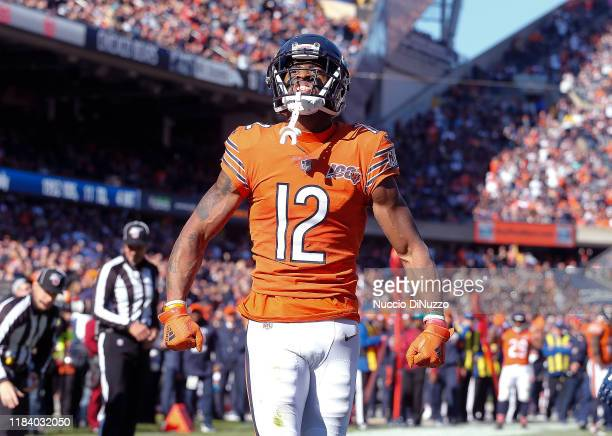 Allen Robinson of the Chicago Bears rects after catching a pass during the game against the Los Angeles Chargers at Soldier Field on October 27, 2019...