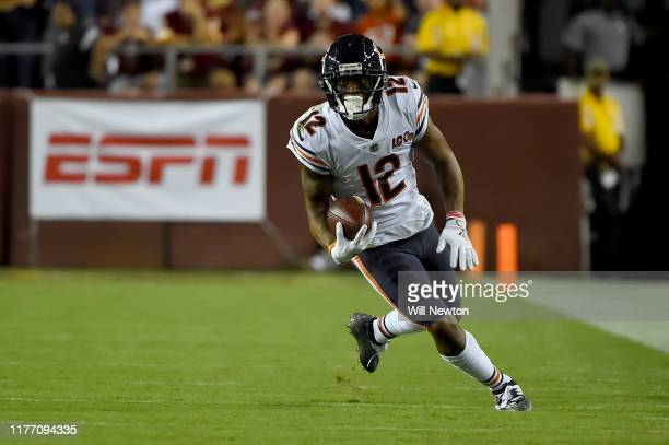 Allen Robinson of the Chicago Bears runs against the Washington Redskins during the first half at FedExField on September 23, 2019 in Landover,...