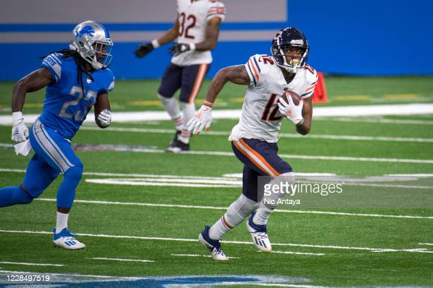 Allen Robinson of the Chicago Bears runs the ball during the second quarter against the Detroit Lions at Ford Field on September 13, 2020 in Detroit,...