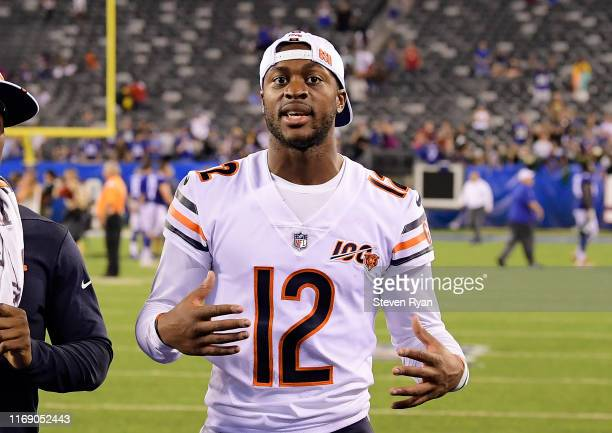 Allen Robinson of the Chicago Bears walks off the field following a preseason game against the New York Giants at MetLife Stadium on August 16, 2019...