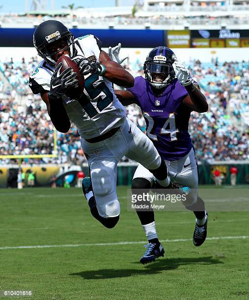 Allen Robinson of the Jacksonville Jaguars catches a touchdown pass as Kyle Arrington of the Baltimore Ravens trails the play at EverBank Field on...