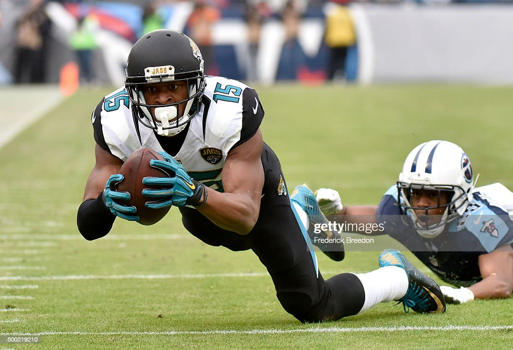Allen Robinson #15 of the Jacksonville Jaguars makes a catch against Tennessee Titans during the game at Nissan Stadium on December 6, 2015 in Nashville, Tennessee.