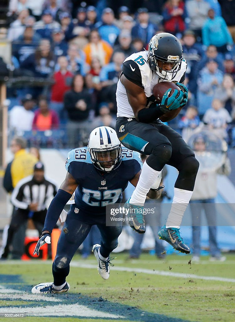 Allen Robinson #15 of the Jacksonville Jaguars makes a touchdown catch past Perrish Cox #29 of the Tennessee Titans during the game at Nissan Stadium on December 6, 2015 in Nashville, Tennessee.