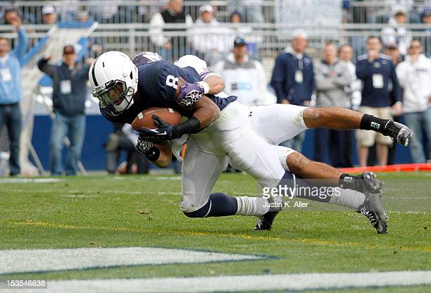 Allen Robinson of the Penn State Nittany Lions catches a pass for a third quarter touchdown against the Northwestern Wildcats during the game on...